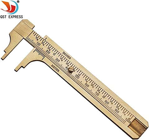 Caliper solid copper vernier two-way scale line precision measuring ruler tool