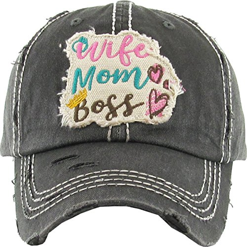 H-212-WMB06 Distressed Baseball Cap Vintage Dad Hat - Wife Mom Boss (Black)