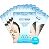 Ebanel Full Face Collagen Sheet Masks, 10 Sheets, Deep Moisturizing Instant Hydrating Hyaluronic Facial Masks for Skin Brightening Anti-Aging Anti-Wrinkle with Stem Cell Extracts and Peptide