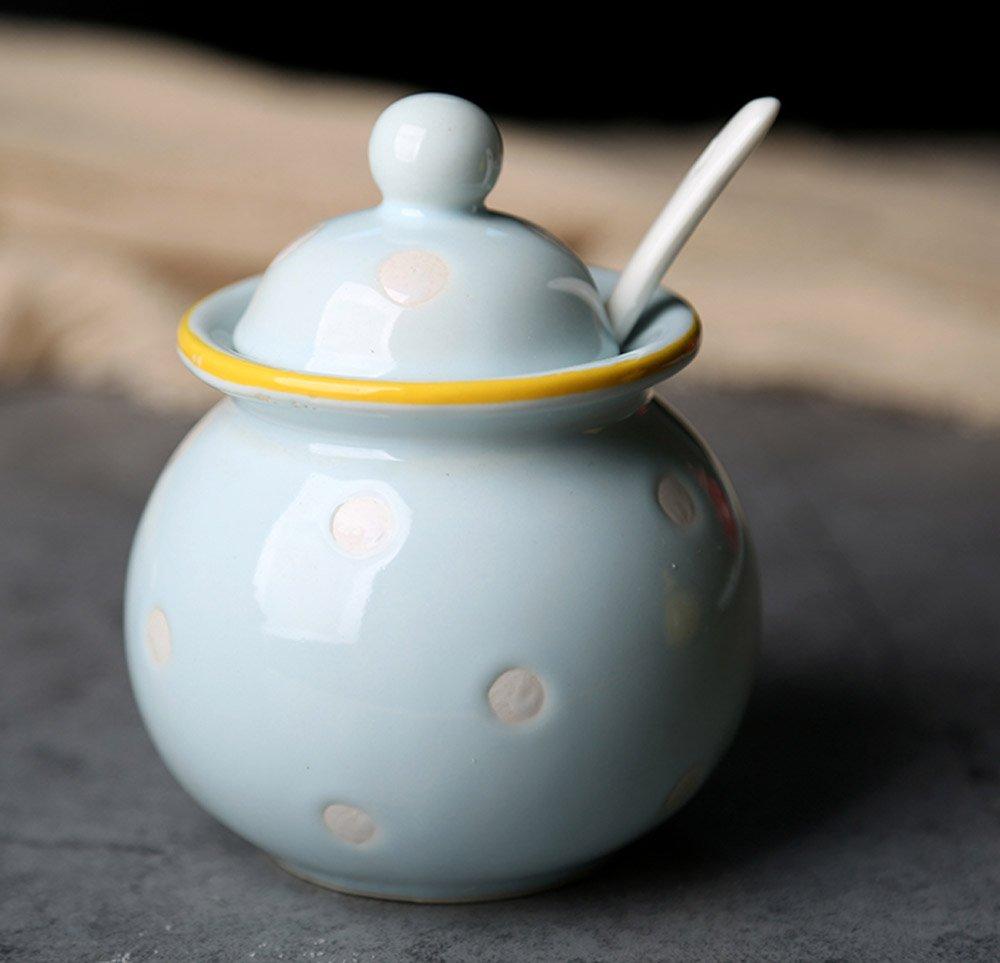 Ceramics Dot Sugar Salt Pepper Storage Jar Seasoning Pot with Lid And Spoon