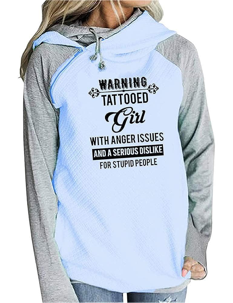 bluee Rfecccy Women's Warning Tattooed Girl Print Zipper Diagonal Collar Double Drawstring Hoodie Sweatshirt Tops Hoodies