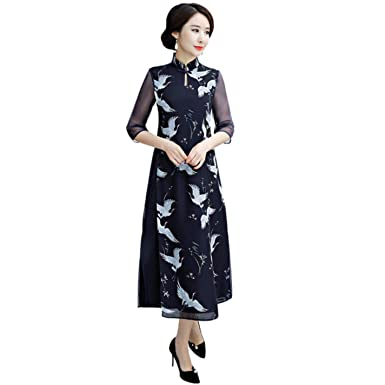 ... Amazon com Traditional Chinese Female Slim Long Dress Vintage Women 3082f6e71fb1