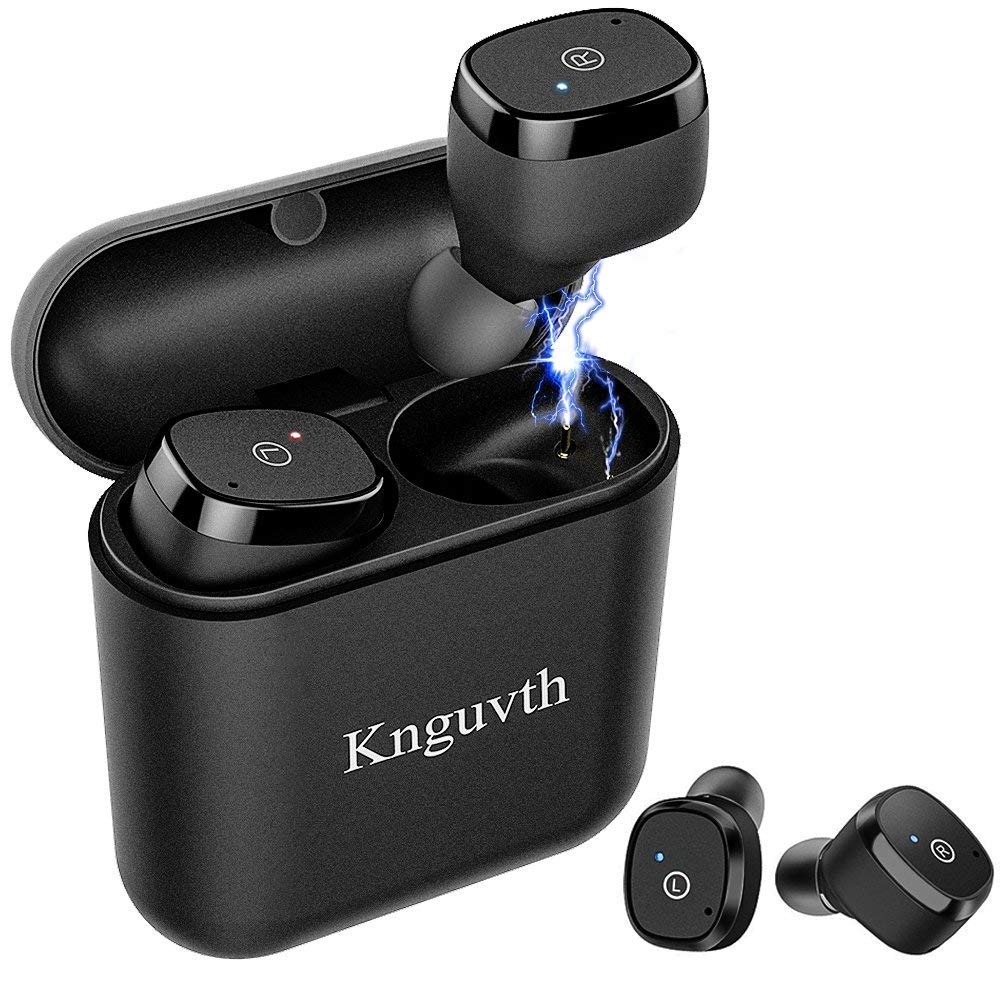 Wireless Earbuds, KNGUVTH Bluetooth Headphones 5.0 True wireless stereo Headset with Microphone HandsFree In Ear Sport Sweatproof Earphones with Charging Box/Case for iPhone Samsung Android by KNGUVTH