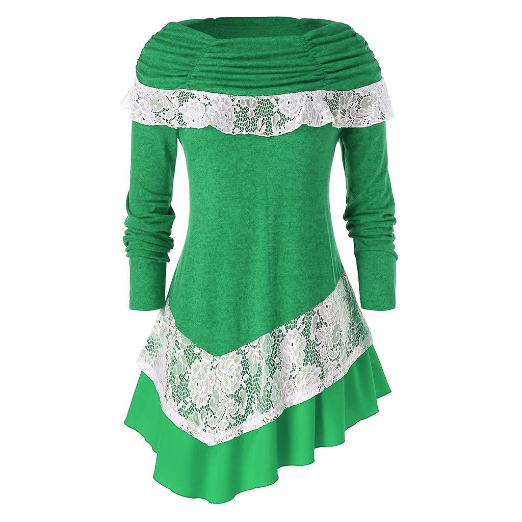 Oldlover-Women T Shirts Long Sleeves Asymmetrical Off Shoulder Oversized Pullover Christmas Lace Sweatshirt Jumper Green by Oldlover-Women