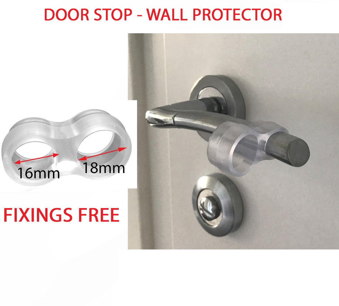 Door Handle Guard Stop Clear Rubber Door Stopper Easy to Install Silicone Door Handle Bumpers Protect Walls Glass and Furniture (Pack of 2) Fasteners Store