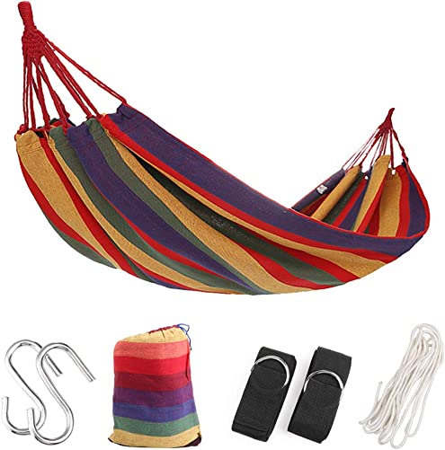 Comfecto Cotton Fabric Double Hammock for Patio Yard Garden Indoor Outdoor Travel Backyard Porch, Portable Camping Hammocks with Sturdy Hammock Straps and Carrying Bag, Holds Up to 475 lbs