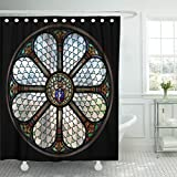 Breezat Shower Curtain Blue Church Circle Shape Stained Glass Window in Hungary Colorful Catholic Waterproof Polyester Fabric 72 x 72 Inches Set with Hooks