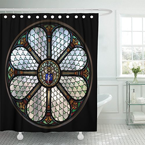 Breezat Shower Curtain Blue Church Circle Shape Stained Glass Window in Hungary Colorful Catholic Waterproof Polyester Fabric 72 x 72 Inches Set with Hooks by Breezat