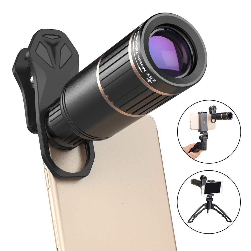 Cell Phone Lens Metal 16x Telephoto with Scaffolding Set for Concert Outdoor Shooting