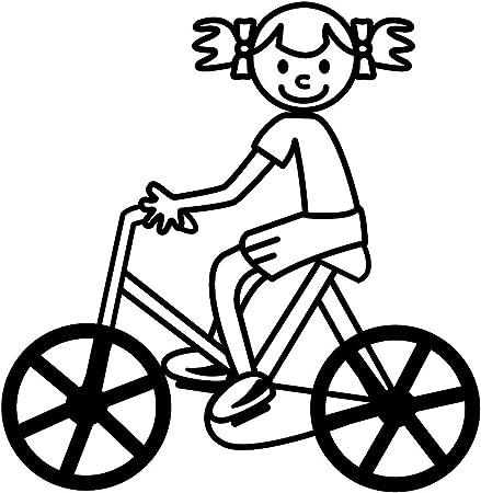 Pegatinas de familia - Niña bicicleta 2. Orientación normal, tamaño grande (104 x 108 mm.), color negro. Cat.: 214.109: Amazon.es: Hogar