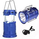 Camping Lantern LED USB Rechargeable Flashlight Tent lamp Solar energy light-BLUE