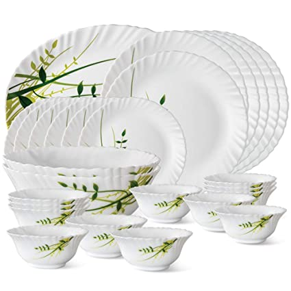 Larah by Borosil Green Herbs Opalware Dinner Set, 27-Pieces, White