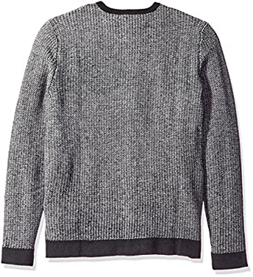 Calvin Klein Men's Lambswool Diagonal Block Checked Crew Neck Sweater