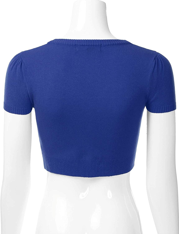 EIMIN Womens Fitted Bolero Shrug Cropped Short Sleeve Cardigan Sweater S-4X