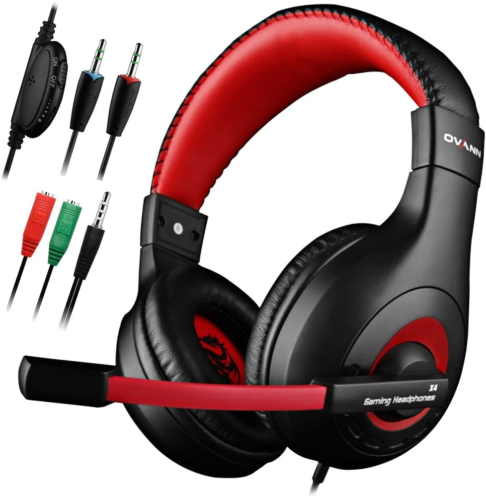 Gaming Headset,DLAND 3.5mm Wired Bass Stereo Noise Isolation Gaming Headphones for Online Gaming with Mic for Laptop Computer, Cellphone, PS4 and so on- Volume Control (Black and Red)