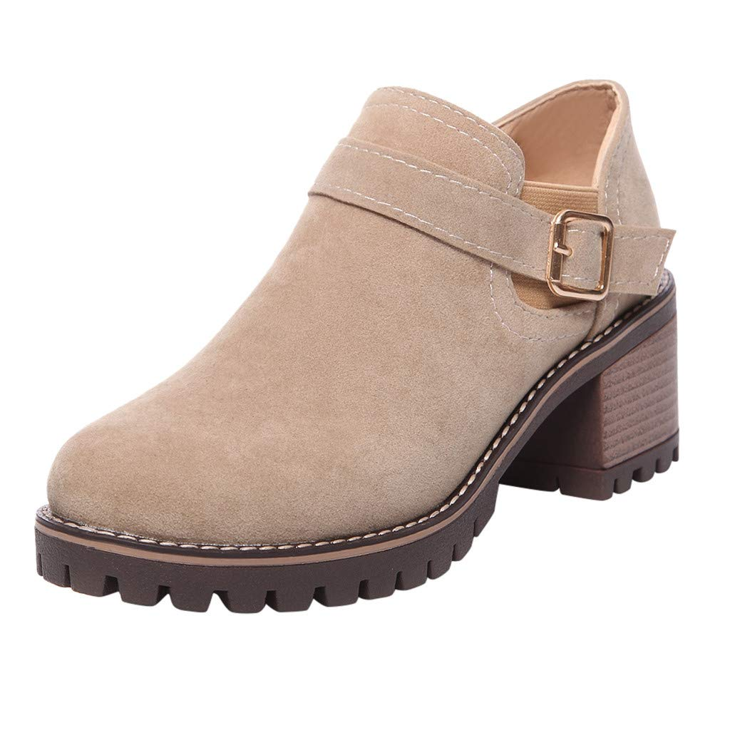 ⭐ Futurelove ⭐ Women Western Ankle Boots Mid-Heels Pointed Toe Block Heel Suede Retro Booties Fashion Belt Buckle Boots Beige by ⭐ Futurelove ⭐