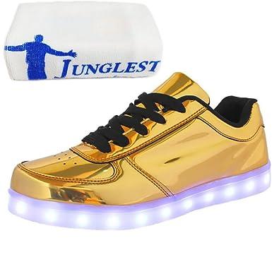 (Present:kleines Handtuch)Gold EU 45, mode Leuchtend Sportschuhe Sneaker LED Da