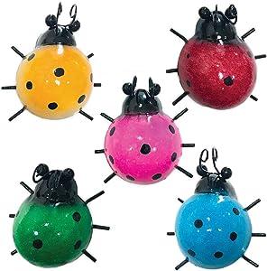 "Aroma Trees Ladybug Garden Metal Wall Art Set—Set of Five (5) 3.75"" inch decorative ladybugs"