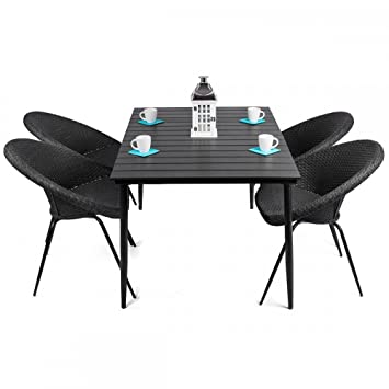 Amazon De Leon Gartenmobel Tisch 4 Stuhle Rund Aus Rattan Schwarz