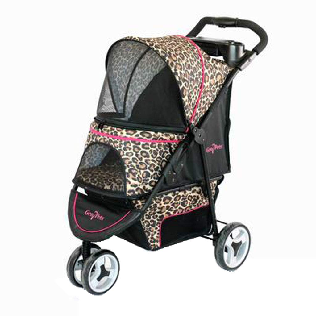 C A3 Pet Stroller Multi-Function Foldable Tear-Resistant Cat Dog Multi-pet Stroller One-Button Cart Animal Sports Car. Dog cart (color   C)