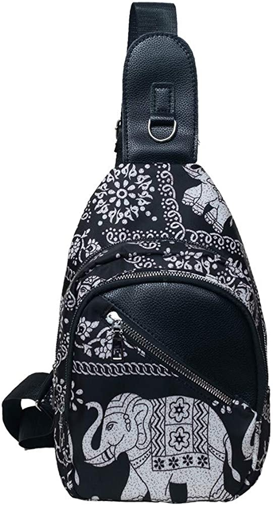 Saigain Women/'s Universal Fashion Chest Sling Bag Adjustable Shoulder Pattern Causal/&Outdoor