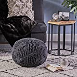 Ansel Knitted Cotton Pouf, Dark Grey