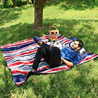 WolfWise 200 x 200 cm XXL Picnic Blanket, Extra Large Beach Mat with Waterproof Backing, Anti Sand & Washable, Soft Fleece, Blue & Green Stripes