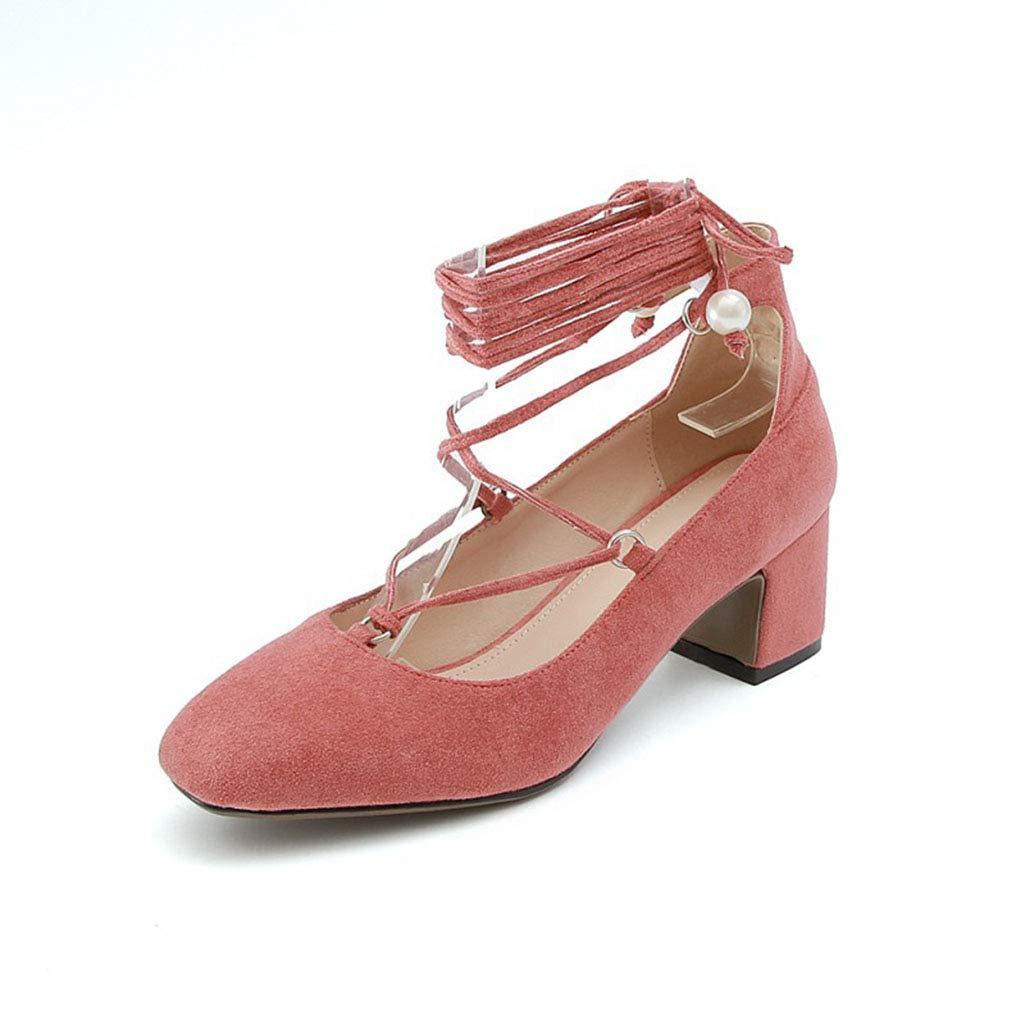 Frauen Schuhe Wildleder quadratischen Kopf flachen Mund High Heels Heels Heels Damenschuhe dick mit großen Schuhen Schuhe Spitze Frühling neu lila 41EU 0d2bd2