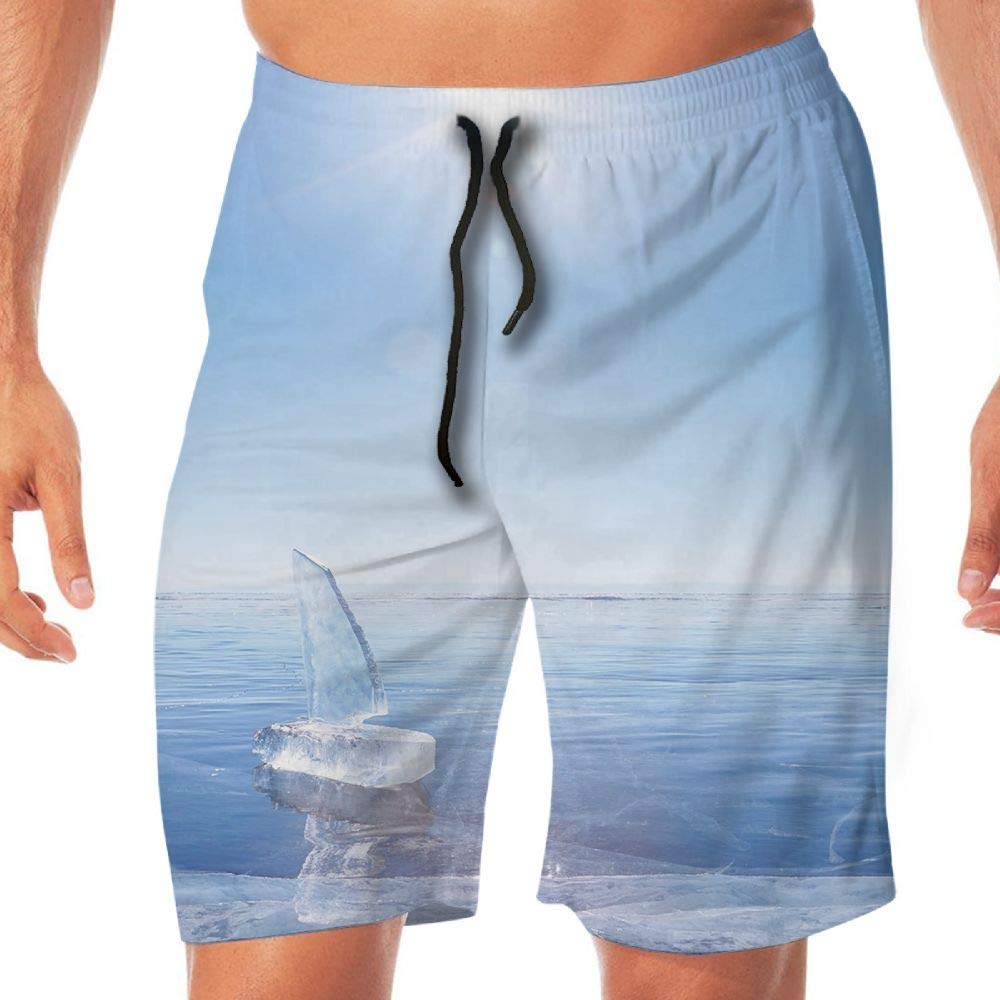 HAIXIA Mens Quick Dry Beach Shorts Pocket Winter ICY Boat in Sunny Weather Open Sky Cool Blue Toned Photograph Print Decorative