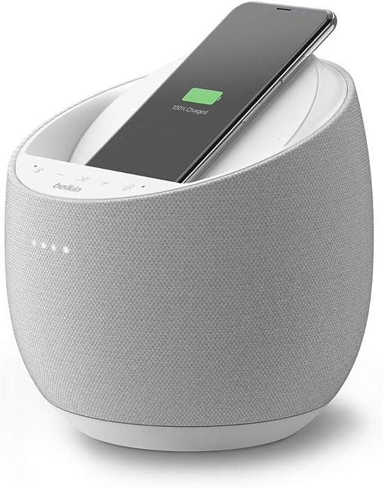 Belkin SoundForm Elite Hi-Fi Smart Speaker + Wireless Charger (Voice-Controlled Bluetooth Speaker, Google Assistant Speaker) Sound Technology by Devialet (White)