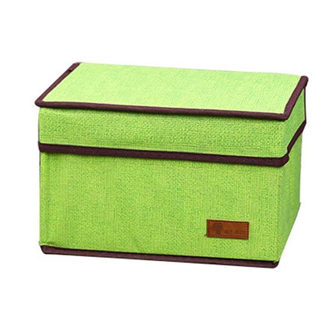 Gr/ün Hosaire 1Pcs Farbige Leinenimitat Tuch Aufbewahrungsbox Kreative Zusammenklappbar Storagebox Multifunktion Aufbewahrungskiste Mit Deckel