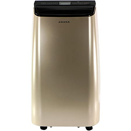 Amana AMAP121AD Portable Air Conditioner with Remote Control in Gold Black for Rooms up to 350 -Sq. Ft.