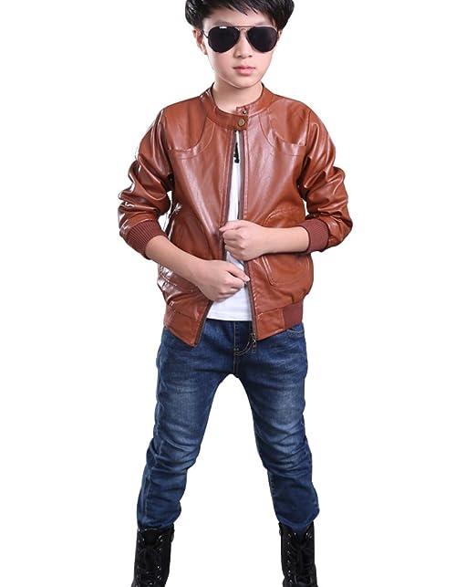 YoungSoul Chaquetas de imitacion piel bebes de manga larga cazadoras cuero sintetico moto abrigos de otoño invierno para niño: Amazon.es: Ropa y accesorios