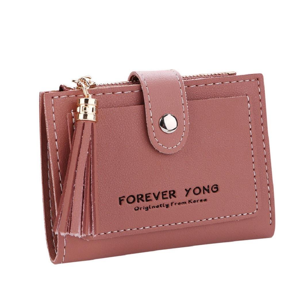 ShenPr Clearance Women Letters Tassel Zipper Short Wallet Coin Purse Card Holders Handbag (Red)