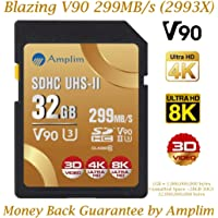 Amplim 32GB V90 UHS-II SDHC SD Card - Blazing Fast 299MB/S (1993X) Class 10 U3 Ultra High Speed UHSII Extreme Pro SD HC Memory Card. Professional 4K 8K Video. 32 GB / 32G TF Flash