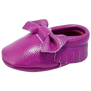 d17b0b77e71 Unique Baby Leather Bow Moccasins Anti-Slip Tassels Prewalker Toddler Shoes  (S (5.1 inches), Purple)