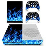 SKINOWN Xbox One S Slim Skin Blue Fire Blue Flame Sticker Vinly Decal Cover for Xbox One S(XB1 S) Console and 2 Controller with Skins For Sale
