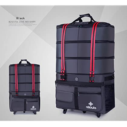 92dc2c18322 ... ailouis 36 Inch Expandable Extra Large Wheeled Travel Duffel Luggage Bag  (Black) ...