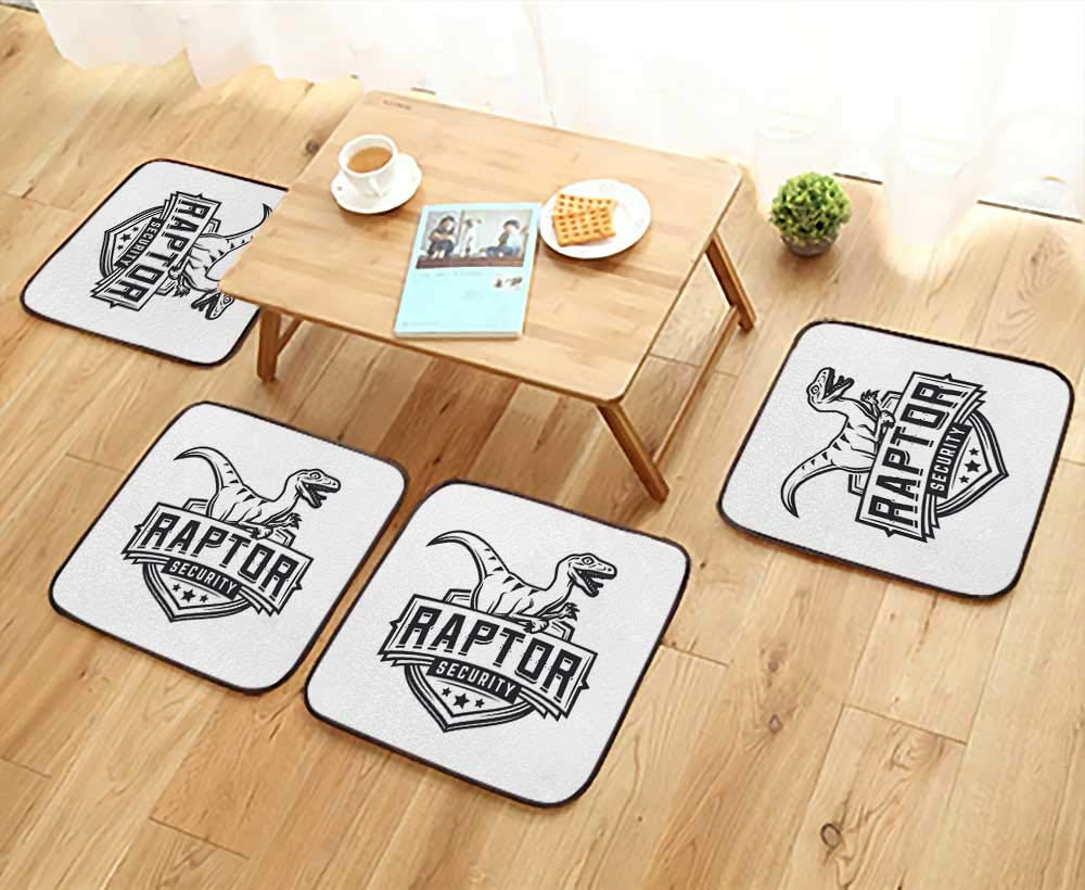 UHOO2018 Simple Modern Chair Cushions Raptor Sport Logo Mascot Design Vintage College Team Coat Reusable Water wash W27.5 x L27.5/4PCS Set