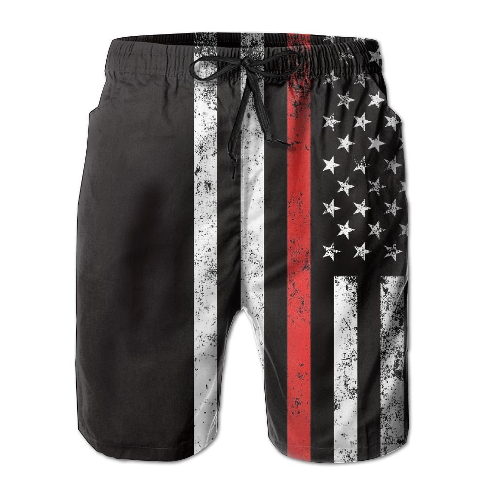 DS-co Red Thin Firefighter Flag Mens Summer Beach Quick-Dry Surf Swim Trunks Boardshorts Cargo Pants