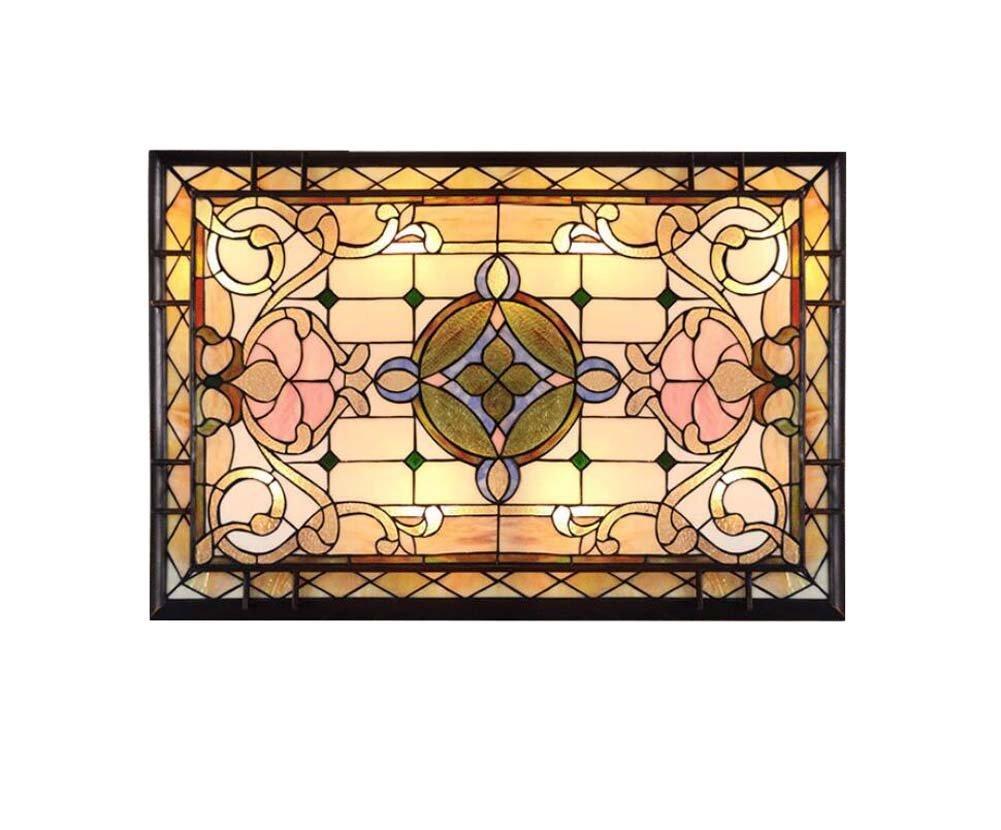 LEDティファニースタイルの天井の光の手は、ステンドグラスの天井のランプを飾ったリビングルームの寝室の装飾のペンダント天井の照明3ファイルの調光 B07G391ZWK