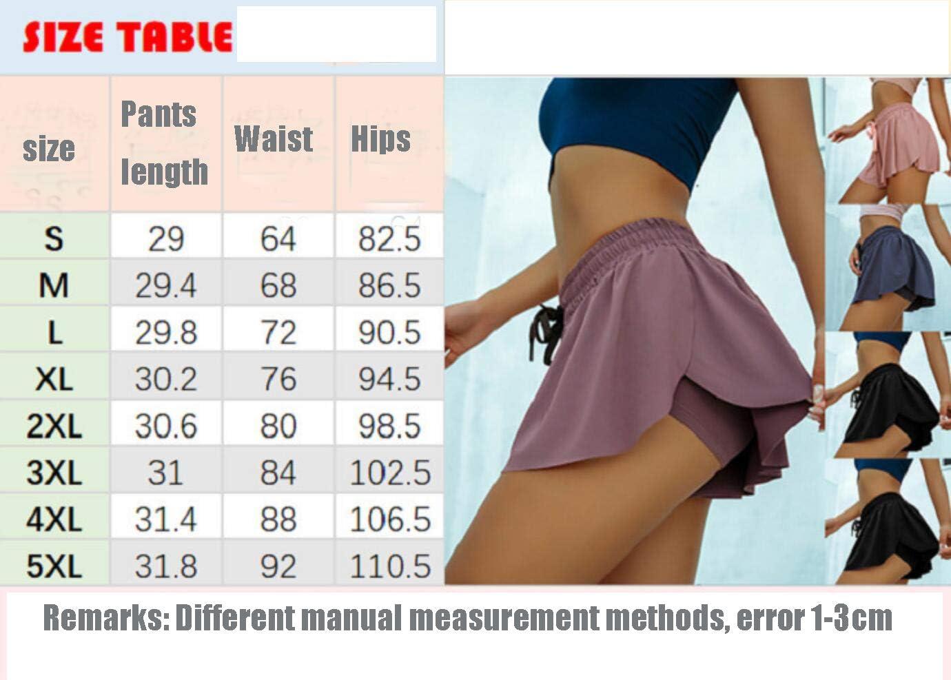 Pantalones Cortos de Yoga Pantalones Cortos de Ciclismo para Ciclistas Mujeres Pantalones Cortos de Secado r/ápido Marat/ón 2 en 1 Deportivos de Gimnasia SMACO Falda Activa para Mujer