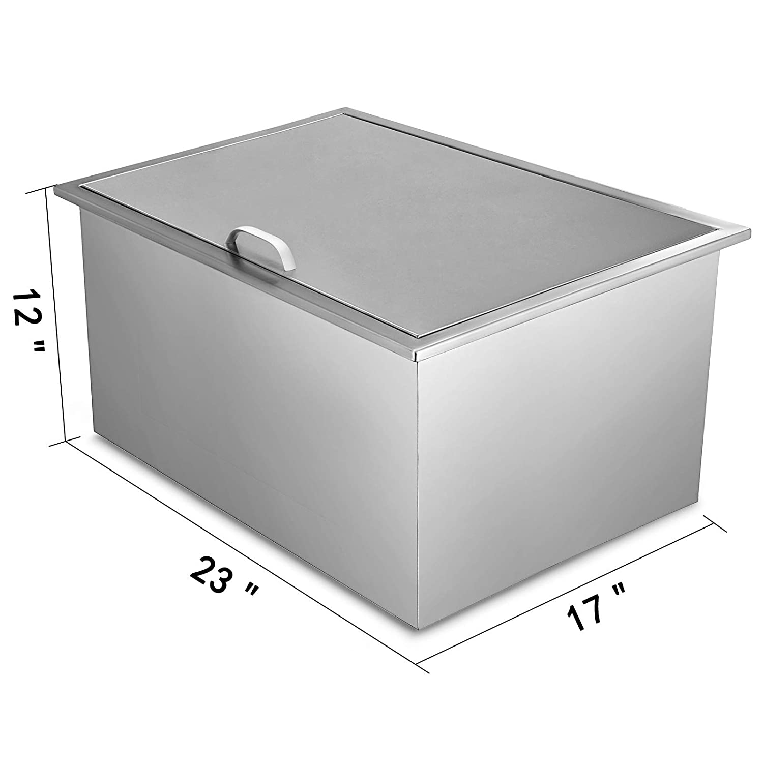 KITGARN Drop-in Ice Chest with Sliding Cover Stainless Steel Single Ice Chest Cooler Insulated Wall Wine Cooler Drop in Cooler 20 x 14 x 12 for Wine Beer Juice 20 x 14 x 12