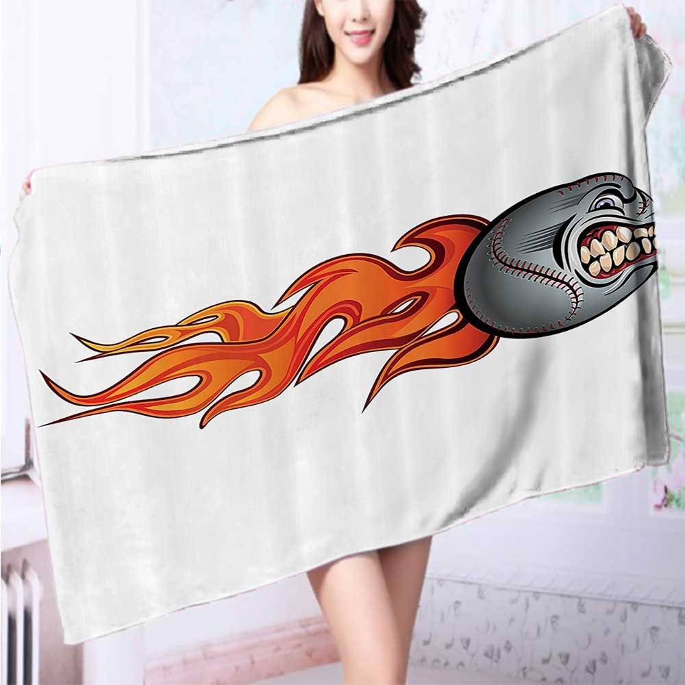 Quick dry bath towelPattern Of Baseball Balls Background Home Run Rules Of The Game Success Score Absorbent Ideal for everyday use L55.1 x W27.5 INCH
