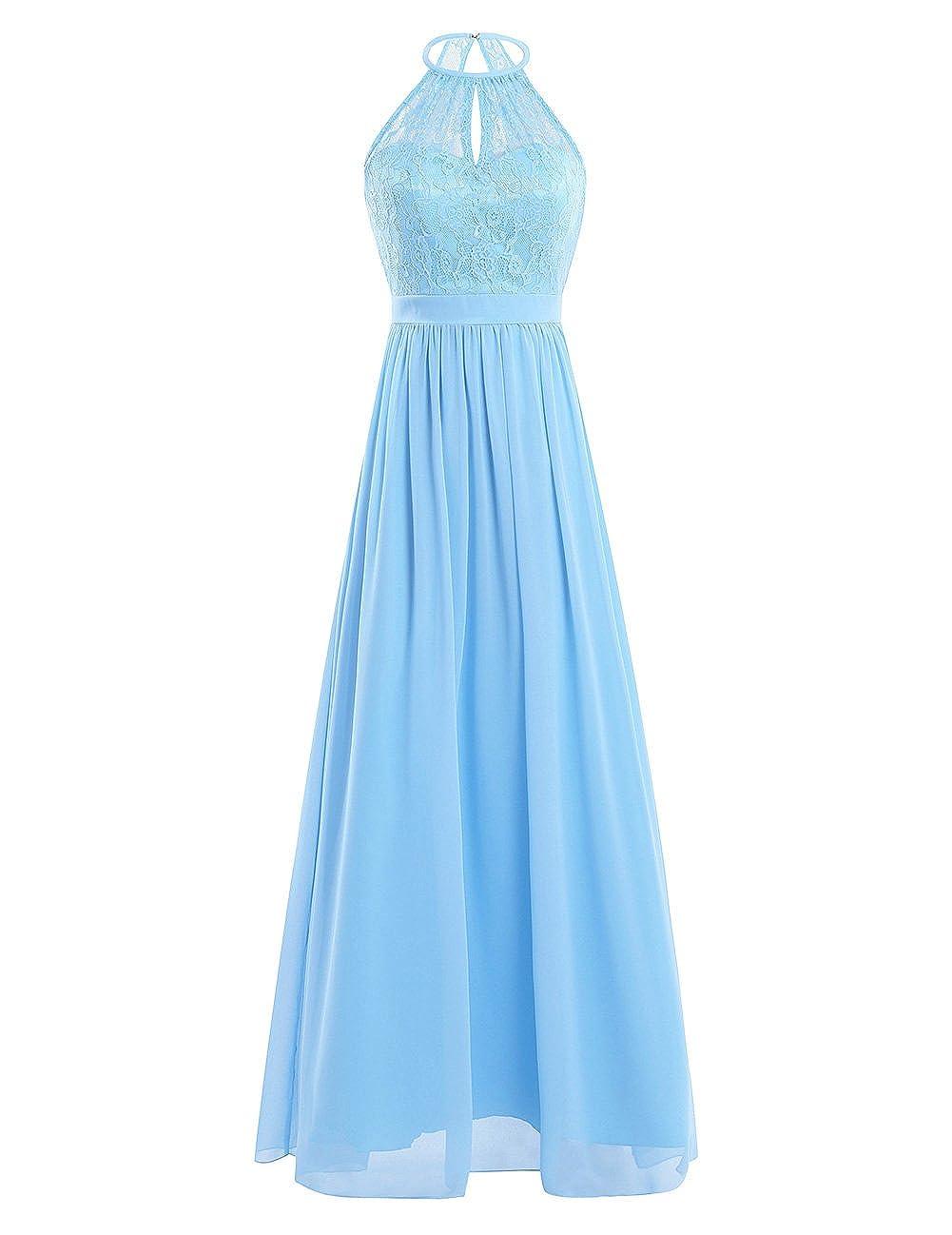 iEFiEL Damen Kleider Elegant festlich Hochzeit Sommer Kleider Lang Chiffon Abendkleid Neckholder Party Kleid Cocktailkleid Gr. 36-46