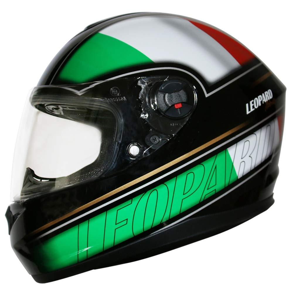 Black XL 61-62cm - Double Visor Motorcycle Helmet Leopard LEO-828 DVS Full Face Motorbike Helmet