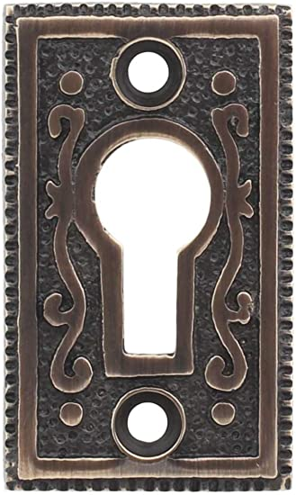ANTIQUED FINISH STAMPED BRASS KEY HOLE COVER  AB0259