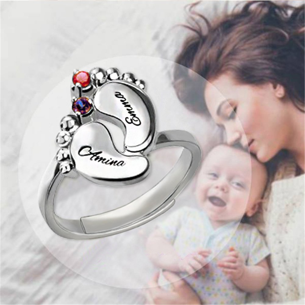 KIKISHOPQ 925 Silver Custom Baby Foot Ring Ring Engraving Name and Inlaid Two Lucky Stone Rings(gold adjustable) by KIKISHOPQ (Image #2)