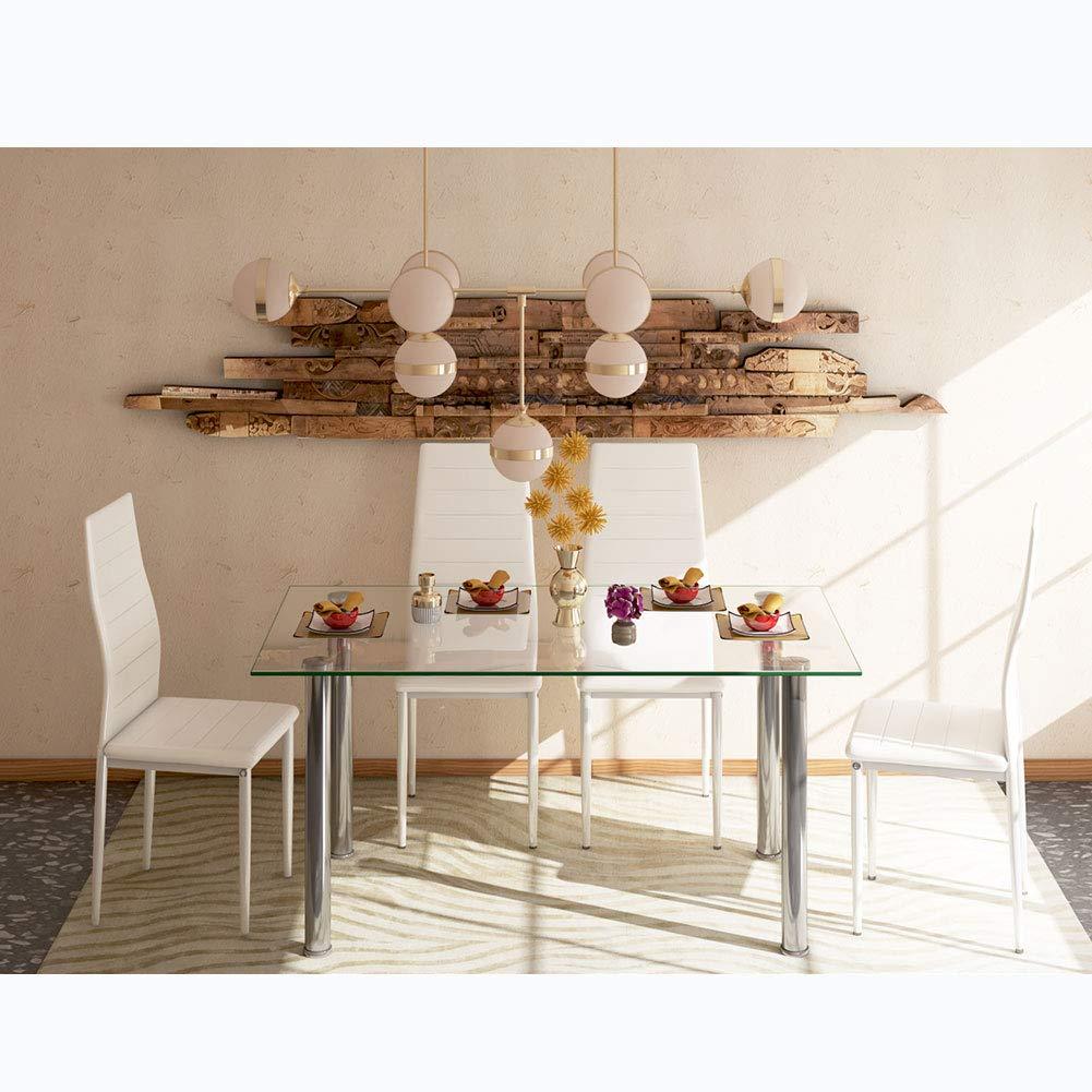 Set Sala Da Pranzo Sala Da Pranzo Moderno Design Salvaspazio Per Sala Da Pranzo 120 X 70 X 75 Cm Rettangolare Tavolo Da Pranzo In Vetro E 4 Sedie Bianche In Pelle