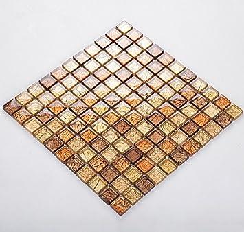 Goldfolie Glas Mosaik Fliesen, Strahlende Wohnkultur Fliesen, Wasserdichte  Moderne Küche Backsplash Fliesen, Mesh